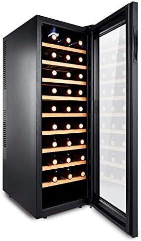 LnspirationalギフトデコレーションアクセサリーLedワインクーラードリンク冷蔵庫30ボトル容量スマートデジタルタッチディスプレイブラックガラス横型ディスプレイ低バッテリー節約ブラック