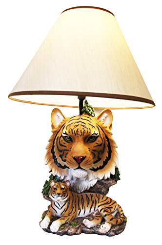 - Ebros Wildlife Orange Bengal Tiger Desktop Table Lamp Statue With Tan Fabric Shade As Home Decor of Tigers Jungle Giant Cats Exotic Animals Lighting Accessory