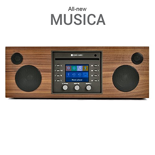 Como Audio: Musica - Wireless Music System with CD Player, Internet Radio, Spotify Connect, Wi-Fi, FM, Bluetooth and One Touch Streaming - Walnut/Black
