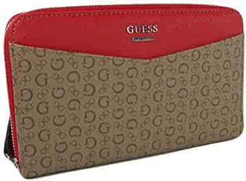 1f2c1fe7d61 New Guess Logo XL Zip Around Wallet Purse Hand Bag Mocha Clutch Gleeson