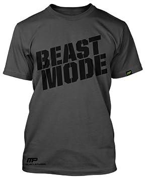 3dc0b2bd Muscle Pharm Grey Beast Mode T-Shirt: Amazon.co.uk: Sports & Outdoors