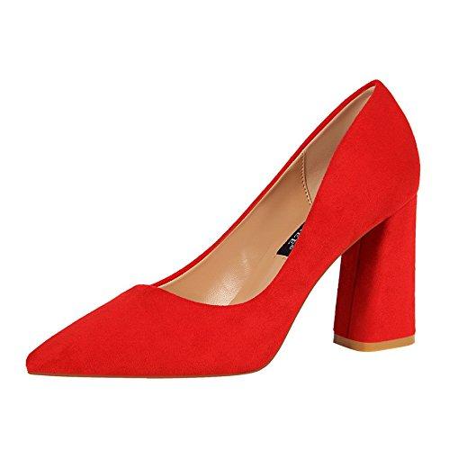 Zapatos Zapatos Punta Boda El Tacón Zapatos Zapatos de Tribunal rojo y Satin versátil Xue de Novia Solo Qiqi Zapato los de Sandalias Negrita de con Baile Light Alto Chica w7F10q