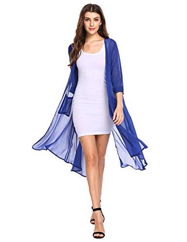 3 Open Pockets (Zeagoo Women 3/4 Sleeve Open Front Split Back Asymmetrical Beach Cardigan With Pocket)