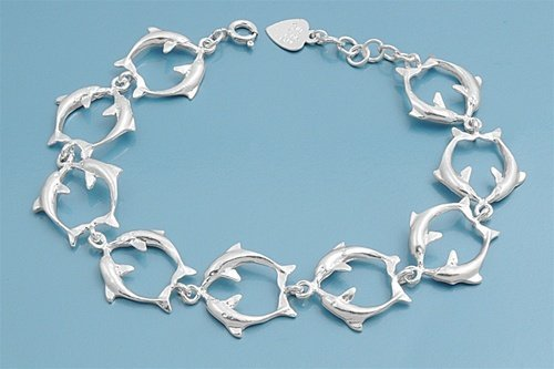 (THE ICE EMPIRE JEWELRY, LLC Large Double Dolphin Fancy Design Charms Italian .925 Sterling Silver Bracelet-Anklet Includes (1) Free Cleaning Cloth)