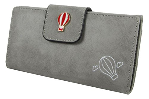 À Simili Dames Détail Avec Grey Kukubird Hot Clutch Wallet Grandes Air Badge amp; Main Cuir Sac Baloon gxTqfd7v