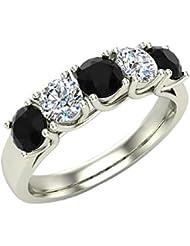 1.10 ct tw Black & White Classic Five Stone Diamond Wedding Band Ring 14K Gold