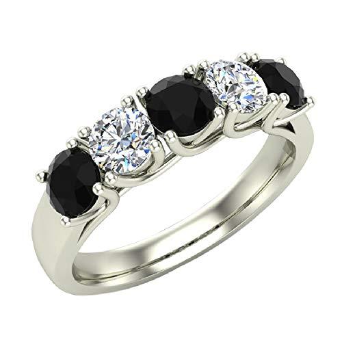 Wedding band Five Stone Diamond Ring Round Brilliant Cut w/Trellis Setting 1.10 carat total weight 14K White Gold (Ring Size -