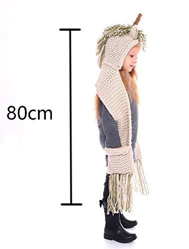- Boys Girls Lovely Crochet Cartoon Unicorn Winter Hat with Scarf Pocket Hooded Knitting Green/Gray