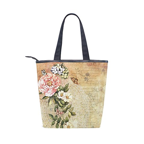 Shoulder MyDaily Bag Floral Handbag Retro Tote Flower Womens Watercolor Canvas 0rwxtEqvr