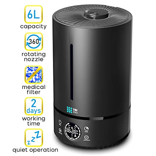 UPGRADED 2020 Top Fill 6L Cool Mist Large Humidifier for Home - 360° Humidifiers for Large Room, Bedroom, Basement - Easy to Clean & Fill - Auto Off, For Whole Home, Quiet for Babies, Kids 1.59 Gallon