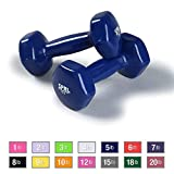 SPRI Deluxe Vinyl Dumbbells (Dark Blue, 5-Pound, Set of 2)