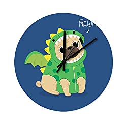 Peceeta Dinosaur Dog 12 Inches Round Wooden Modern Silent Wall Clock Universal Colorful Home/Office/Classroom/School Clock White 12x12 inch
