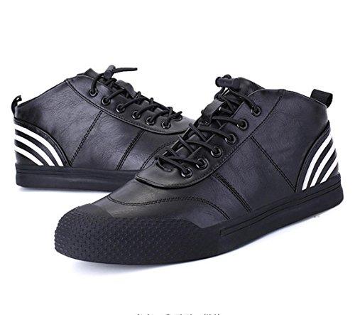 zapatos de la manera de los nuevos hombres de invierno de Corea del calzado deportivo juveniles de concha zapatos planos del cordón de la marea salvaje de los hombres de cabeza Black