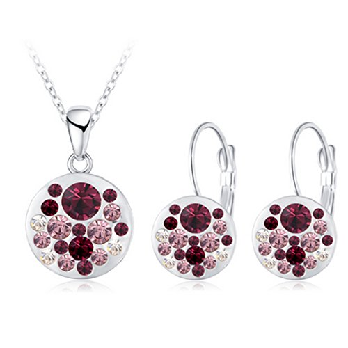 Hot Austrian Crystal Jewelry Set For Women Rose Gold Color Round Style Pendant/Earrings Sets Parure Bijoux Femme Champagne - Bijoux Champagne