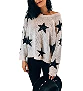 Biucly Womens Crewneck Long Sleeve Ripped Distressed Pullover Knit Crop Sweater