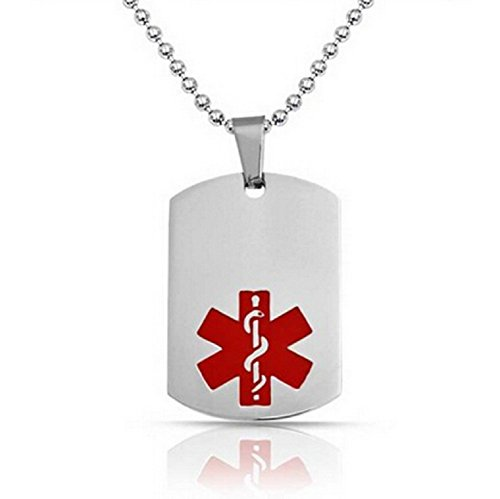 JGFinds Type 2 Diabetes Medical Alert Engraved Dog Tag with 22 Chain - All Stainless Steel ()