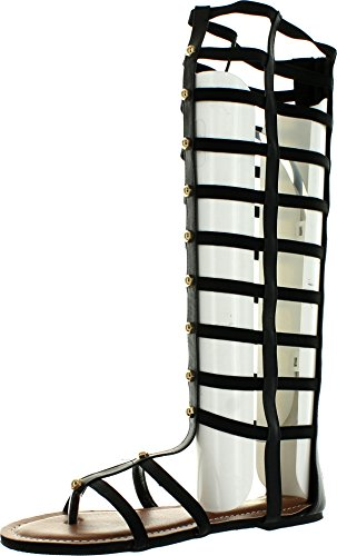 Womens Studded Gladiator Design (Wild Rose Odelia04 Women Leatherette Open Toe Studded Knee High Gladiator Sandal - Black,Black,10)
