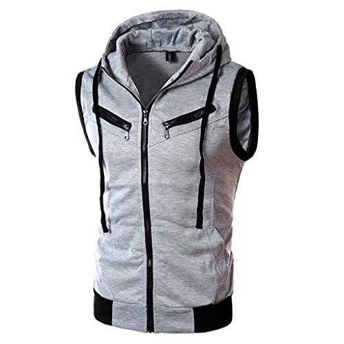 MILIMIEYIK Blouse Men's Sleeveless Workout Hoodie Zip-up Vests Gym Bodybuilding Lifting Tank Tops Gray