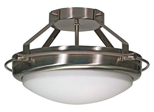 Polaris - 2 Light - 14In. - Semi-Flush - W/ Satin Frosted Glass ()