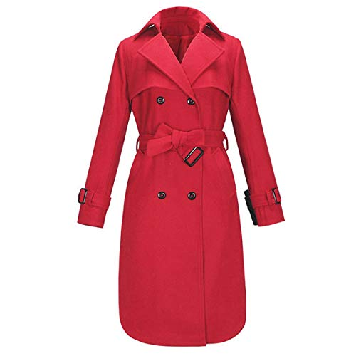 de y Doble Invierno Color Abrigo Botonadura de Cazadora Cordones con L Red Size de Lana ExqSw1B