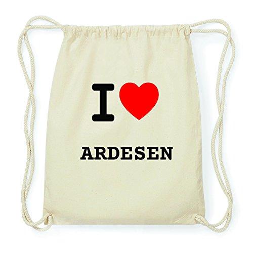 JOllify ARDESEN Hipster Turnbeutel Tasche Rucksack aus Baumwolle - Farbe: natur Design: I love- Ich liebe 2HC3eWRCic