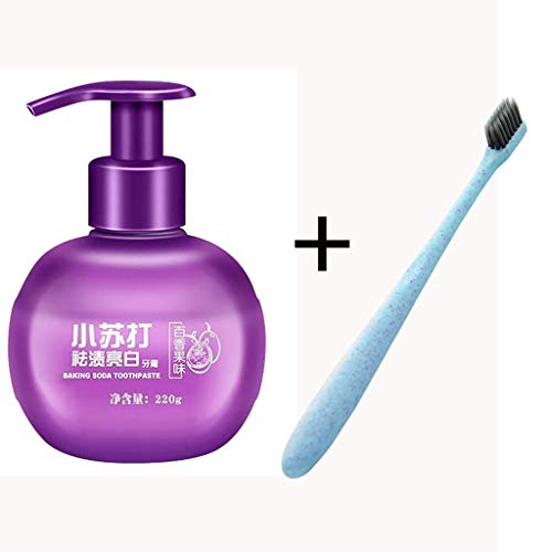 Whitening Toothpaste Clearance , 1PC Stain Removal Whitening Toothpaste Fight Bleeding Gums Toothpaste+toothbrush by Little Story Clearance (Purple)