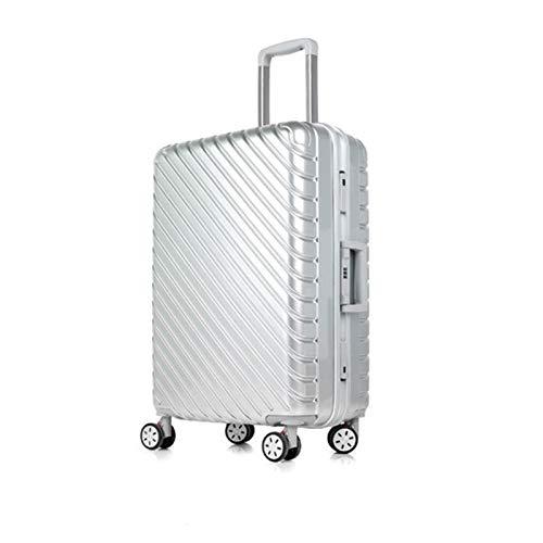 トロリーユニバーサルホイールアルミフレームスーツケース24人の男性と女性搭乗パスワードボックス荷物スーツケースハードボックス (Color : シルバー しるば゜, Size : 24 inches)   B07R5QRJYK