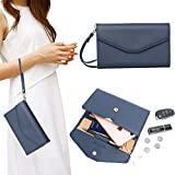Zg Wristlets for Women, Cell Phone Clutch Wallet, Passport Wallet, All In One Purse Extra Capacity - Blue1