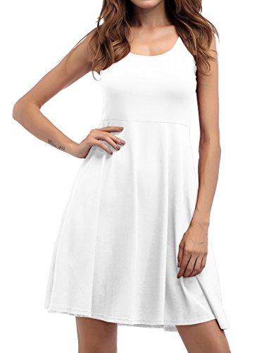 ZJCTUO Damen Ärmelloses Beiläufiges Strandkleid Sommerkleid Tank Kleid  Knielang Weiß 0sz2n4 ... a0f28878ad