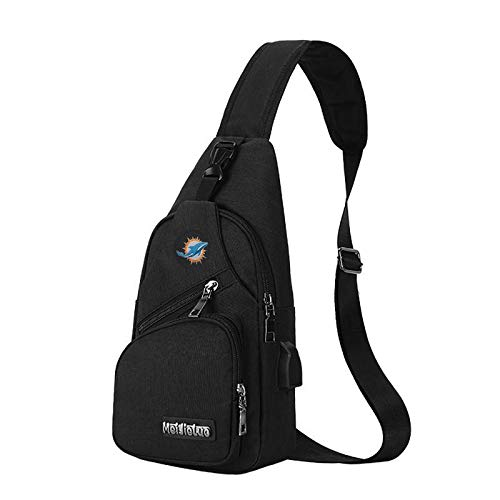 CHNNFC NFL Unisex Black Sling Backpack Chest Bag Travel Hiking Daypack for Outdoor Sports Camping - Miami Dolphins ()