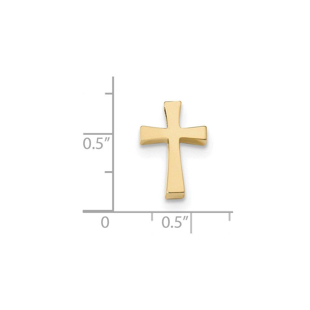 Briliant Bijou Genuine 14k Yellow Gold Polished Cross Chain Necklace Slide 15.73 mm