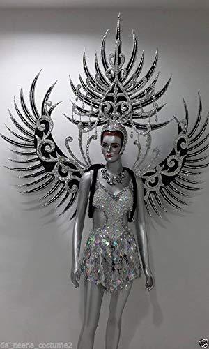 Da NeeNa Dance Latin Burlesque Victoria Secret Angel Wings Backpiece Costume Set XS-XL ()