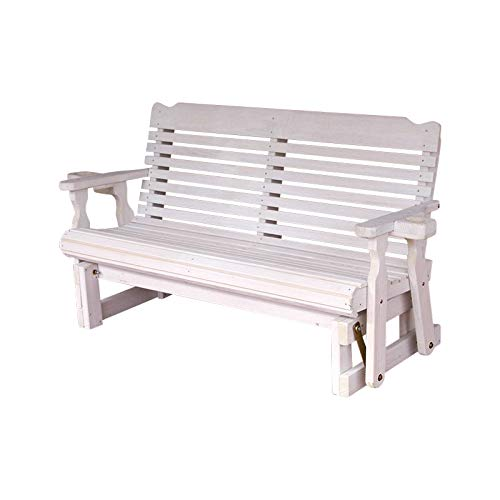 Amish Heavy Duty 800 Lb Classic Pressure Treated Porch Glider with Cupholders (5 Foot, Semi-Solid White (Classic Porch Glider)