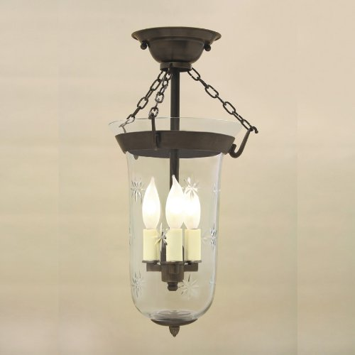 JVI Designs 1045-08 Semi Flush Elongated Bell Jar Lantern with Star Glass ()