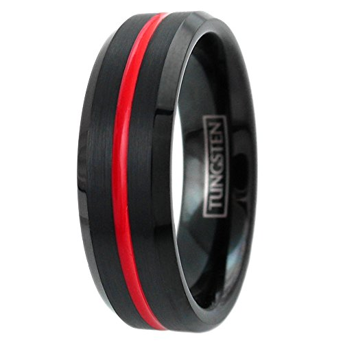 Awesome Black Tungsten Ring w/Brushed Finish Outer Band & Bright Red Recessed Enamel Stripe. 6mm & 8mm. (tungsten (6mm), ()