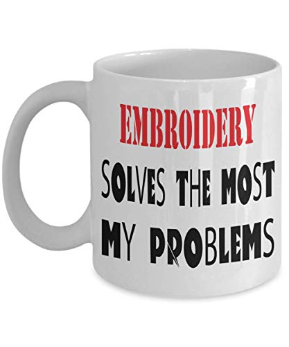 11oz White Mug Embroidery mug pun mug funny coffee mug gift mug Embroideryman hobby mug best for special,al7962]()