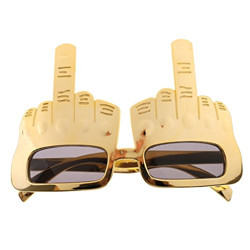 Baoblaze Novelty Gold Middle Finger Gesture Sunglasses Party Fun Do Dress Up - Gold (Cocktail Novelty Sunglasses)