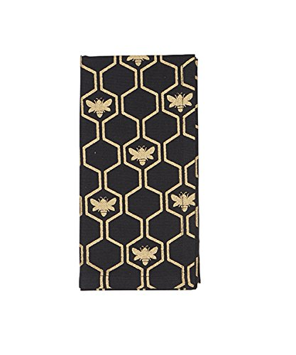 Cloth Napkins 18 Inches Table Linens Linen Napkins Black and Gold French Country Bee Set of 4