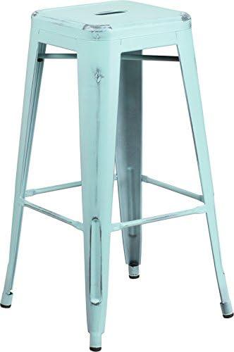 EMMA OLIVER 30 H Backless Distressed Green-Blue Metal Indoor-Outdoor Barstool