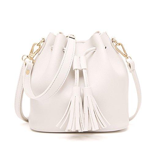 À Blanc Avec Vintage Main Sac Sacs Cuir Notag Pompon Bandoulière Femme En Seau Pu blanc C6xqzP