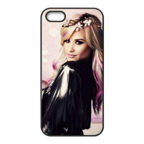 Demi Lovato 013 coque iPhone 5 5S cellulaire cas coque de téléphone cas téléphone cellulaire noir couvercle EOKXLLNCD23155