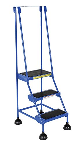 Vestil LAD-3-B Steel Spring Loaded Roll Ladder, 16'' Wide x 11'' Depth, 300 lb. Capacity, 3 Rubber Steps, Blue by Vestil