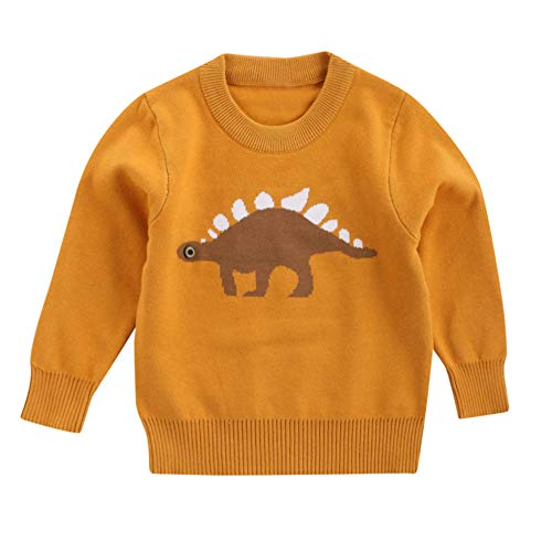 AMSKY Wash Clothes Baby,Boys Girls Baby Kids Dinosaur Sweaters Soft Warm Children's Sweater Coats,Yellow,90 by AMSKY (Image #1)