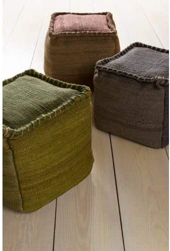 Surya 100-Percent Jute Pouf, 18-Inch by 18-Inch by 18-Inch, Charcoal Gray