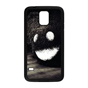 Caja del teléfono Samsung Galaxy S5 Funda Negro oscuro cara feliz E6W7FC DIY Diseño Caja del teléfono Funda