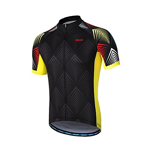 ARSUXEO Men's Cycling Jersey Short Sleeves Mountain Bike Shirt MTB Top Zipper Pockets Reflective ZY850 L