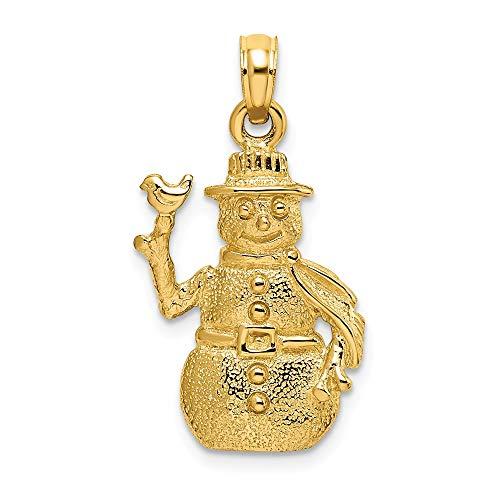 14k Yellow Gold Satin & Polished 3-D Snowman Charm