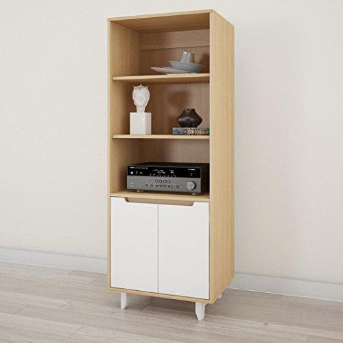Nexera 107139 Nordik Bookcase/Media Cabinet, White and Natural Maple
