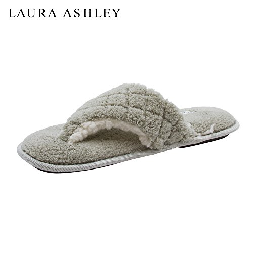 Laura Ashley Ladies Plush Spa Thong Strap Slippers With Memory Foam Insole Rye zuk8YK7y8