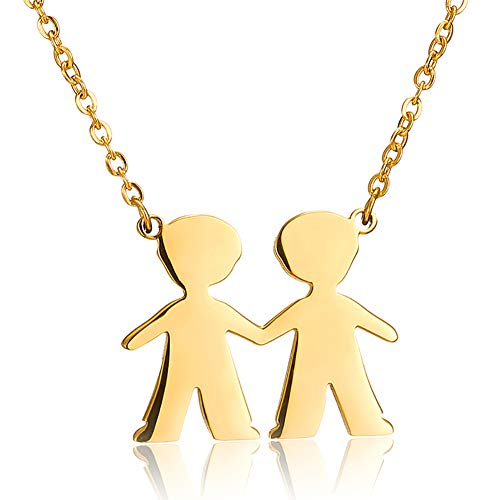 Stainless Steel Twins Two Figure Friends Charm Pendant Necklace for Boys Brother Gold Plated Choker Jewelry Chain